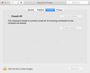 Mac System Preferences Security and Privacy Firewall