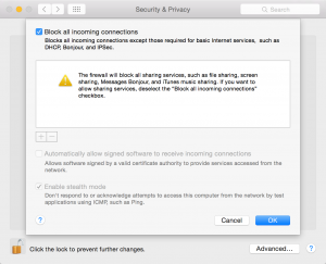 Mac System Preferences Security and Privacy Firewall Advanced