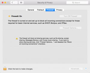 Mac System Preferences Security and Privacy-Firewall on