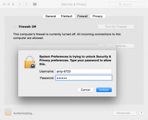Mac System Preferences Security and Privacy Firewall Unlock