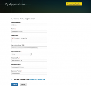 LinkedIn create a New Application