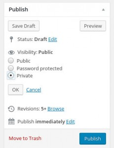 WordPress record how to tasks private visibility
