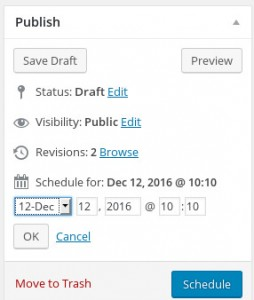 Scheduling WordPress post publish date