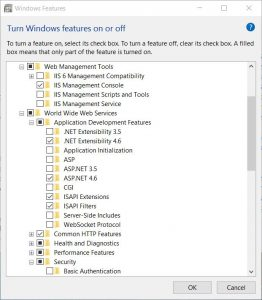 Windows 10 install IIS Windows features IIS options
