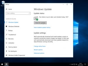 Windows 10 Windows update: Settings Windows update