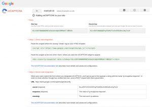 Create reCAPTCHA API keys adding reCAPTCHA to your site
