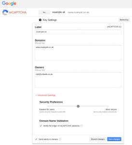 Create reCAPTCHA API keys key settings