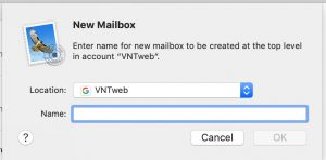 Apple Mac Email add Subfolders: New mailbox